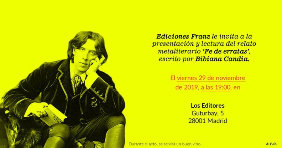 """La librería madrileña Los editores acoge la presentación de """"Fe de erratas"""" de Bibiana Candia"""