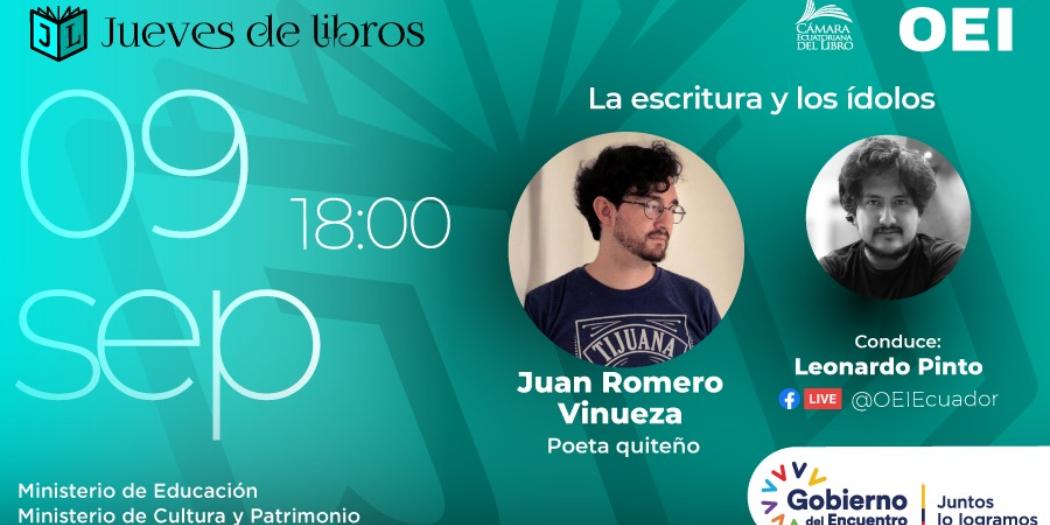 Juan Romero Vinueza charlará sobre la escritura y los ídolos en el Jueves de Libros